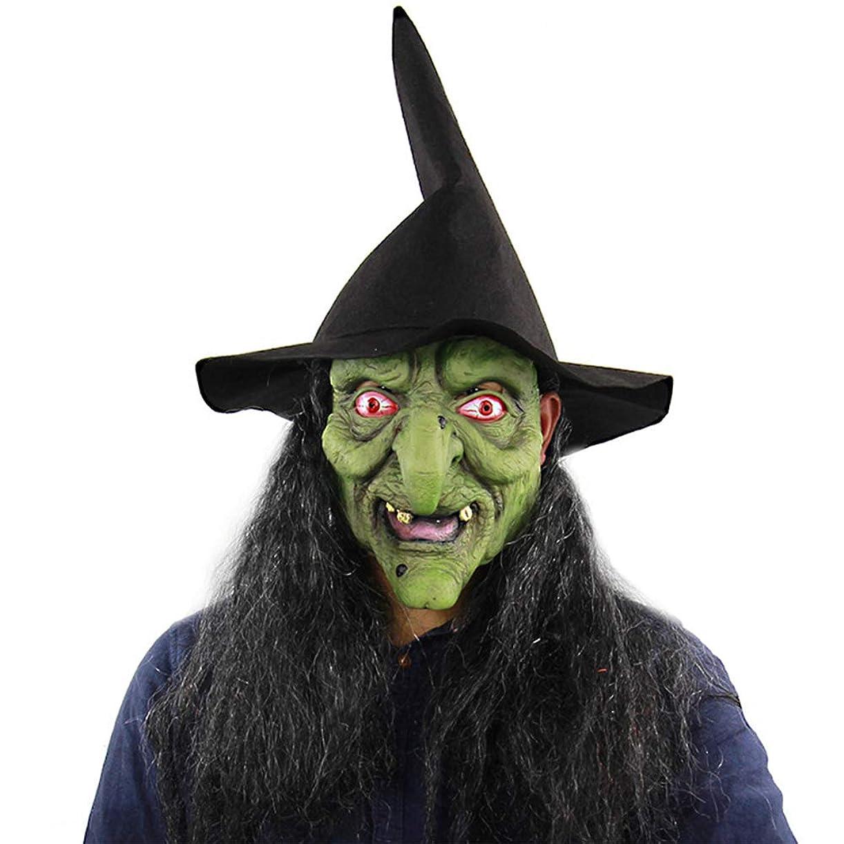 良い見つけた鼻ハロウィーングリーンヘッドグレーヘアホラー魔女マスクお化け屋敷部屋脱出ドレスアップライブ全身男ヘッドカバー