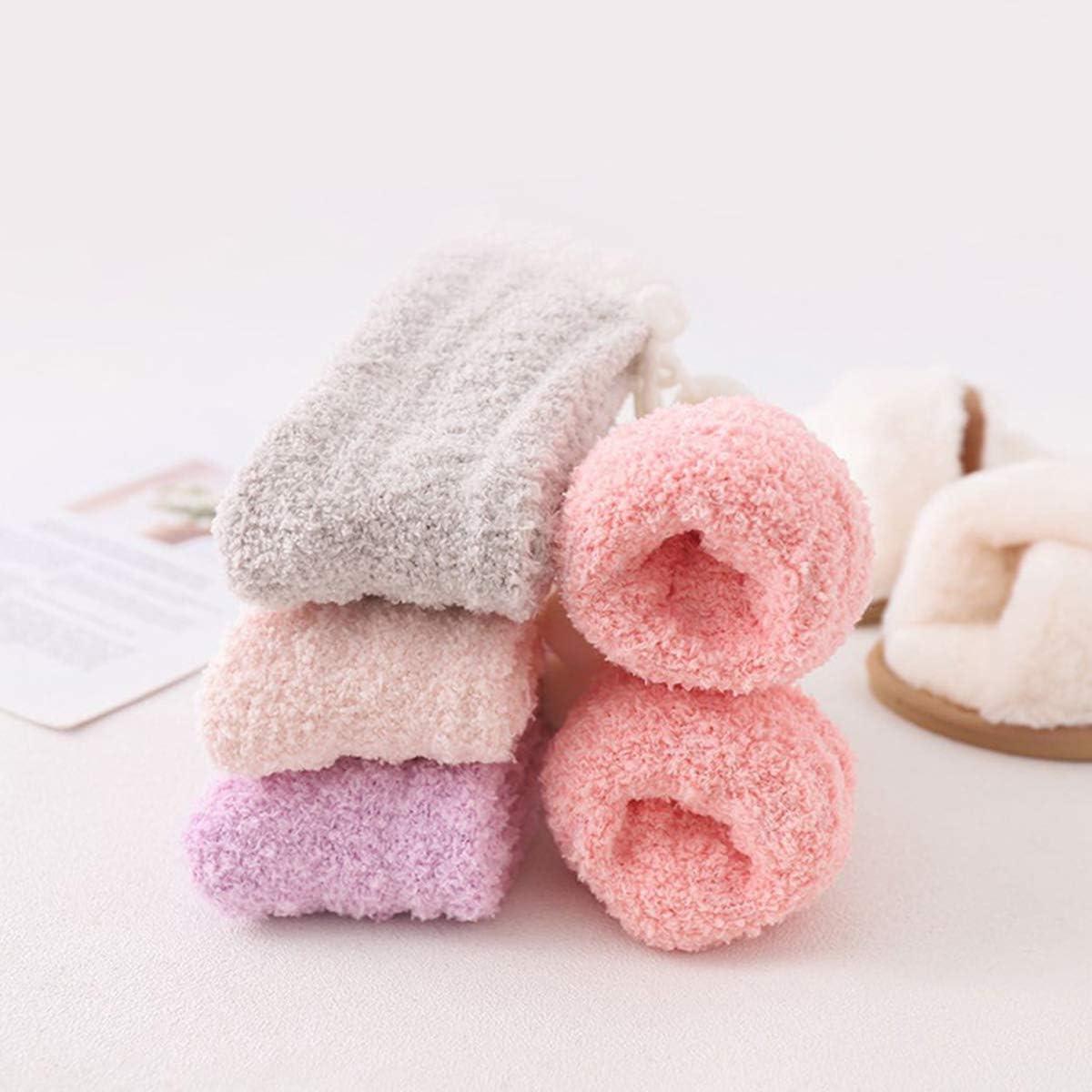 Women Winter Socks Fleece Fluffy Slipper Socks Stocking 5 Pairs