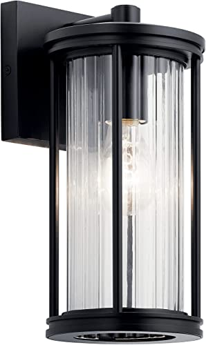 """high quality Barras 11.5"""" 1 Light Outdoor Wall outlet sale Light with Clear Ribbed outlet sale Glass in Black outlet sale"""