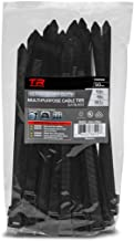 "TR Industrial Ultra Heavy Duty Multi-Purpose UV Cable Ties (50-Piece), 250 lbs. Tensile Strength, 8.9"", Black"