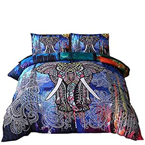 Bohemian Duvet Cover Set, Bedding Sets Soft Luxury Microfiber Comforter Cover, Elephant Pattern Kids Teens Adults Quilt Cover with Zipper Closure (Colorful, 3pcs, Full Size)
