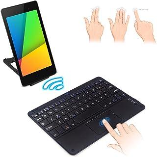 F.G.S NEC(日本電気) LAVIE Tab W TW708/CAS PC-TW708CAS キーボード 7-8インチ汎用 Bluetoothキーボード タッチパッド式 マルチOS対応(Android/Windows対応) [JP配列/US配列両方対応] 超薄型 キーボード ワイヤレス[タブレットスタンド付き] 日本語取扱説明書付き F.G.S正規代理品