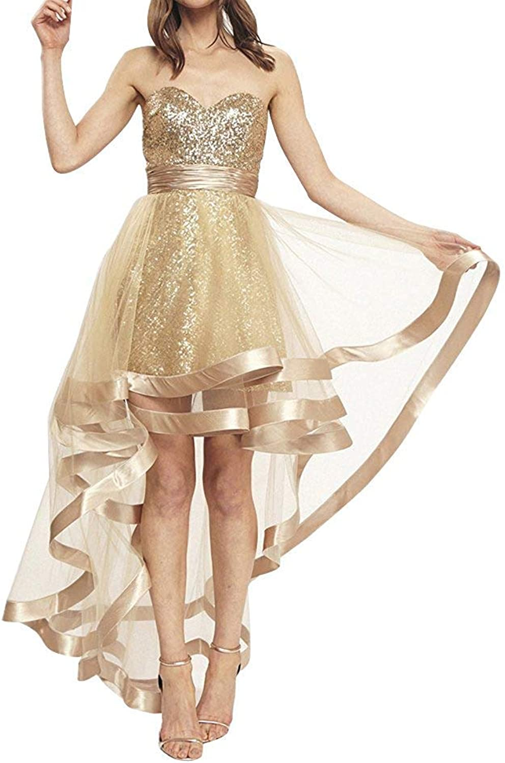 LiBridal Women's Sweetheart Sleeveless High Low Prom Dresses Sequined ALine Luxury Homecoming Dresses