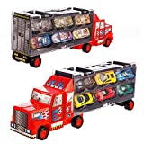 Tuko Car Toys Die Cast Carrier Truck Vehicles Toy for 3-12 Years Old Boy Girl Toy Gift(Includes 6...