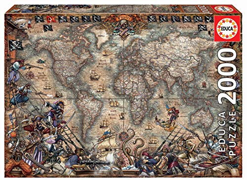 Educa Borras - Genuine Puzzles, Puzzle 2.000 piezas, Mapa de piratas (18008)