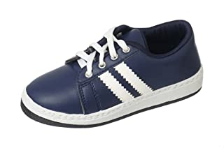 Salerno Leather Contrast Side-Stripe & Lining Lace-Up Fashion Sneakers for Kids