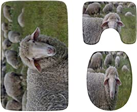One Sheep in Meadow with November Sun Bathroom Rug Mats Set 3-Piece,Soft Shower Bath Rugs,Contour Mat and Toilet Seat Lid ...