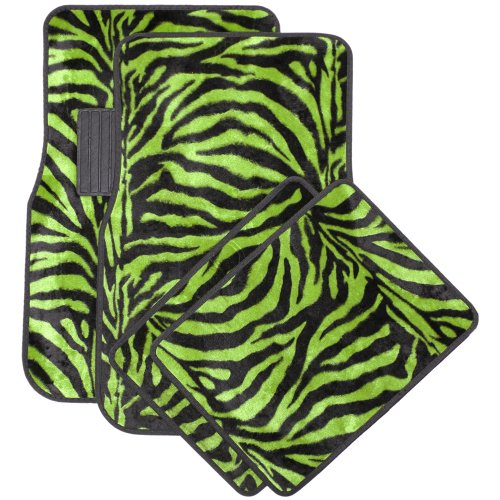 OxGord 4 Piece Zebra Print Carpet-Floor-Mats Set for Car - Rubber-Lined All-Weather Heavy-Duty Protection for All Vehicles, Lime Green/Black