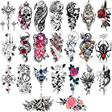 Konsait 24 Sheets Large Temporary Tattoos Half Arm Tattoo Sleeves Big Flowers Tribal Totem Tattoo Temporary Fake Body Art Arm Chest Shoulder Tattoo Black tattoo Body Stickers for Women Man