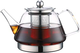 TOYO HOFU Clear High Borosilicate Glass Teapot with Removable Food Grade 304 Stainless Steel Infuser, Small Heat Resistant Loose Leaf Tea Pot,Stovetop Safe,1100 ml /37 Oz
