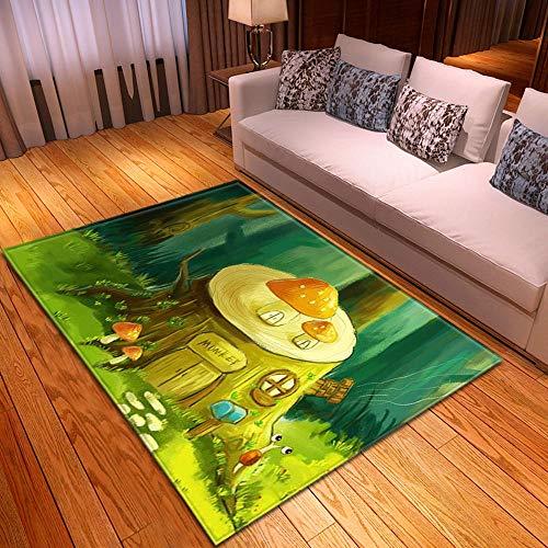 HJKGSX Alfombra De Salón Casa del árbol de Dibujos Animados Alfombra Pelo Corto Antideslizante Dormitorio Cuarto de los niños Fácil de Manejar 120 x 160 cm