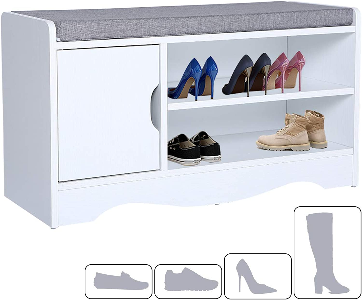 Ease shoes Bench Footwear Rack Storage Unit Wooden shoes Cabinet with Seat Cushion for Hallway Bedroom Entrance 80  30  44cm