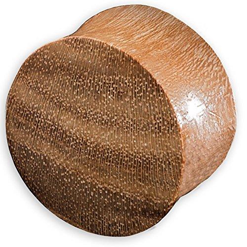 viva-adorno® 1 Stück Double Flared Flesh Plug Tunnel aus Holz verschiedene Holzarten zur Auswahl Größe 2 - 30mm WP1, Teak, 24mm