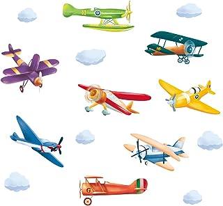 ufengke Stickers Muraux Avions Colorées Autocollants Mural Vintage Biplan pour Chambre Enfants Garçon Bébé Pépinière Salon...
