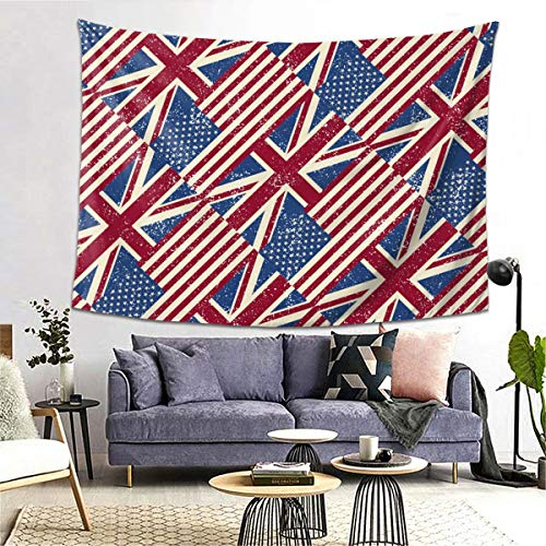 Learn More About bneegxg Tapestries Décor Picnic Mat USA and England Flags Repeated for Bedroom Dor...