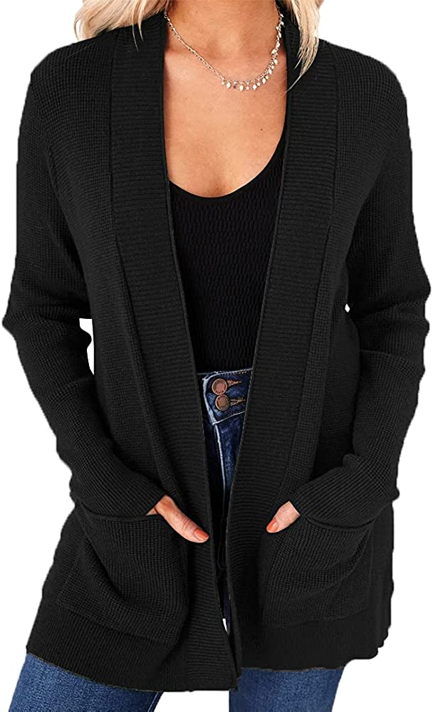 Saodimallsu Womens Long Sleeve Casual Cardigan Loose Knit Open Front Solid Soft Chunky Sweater with Pocket