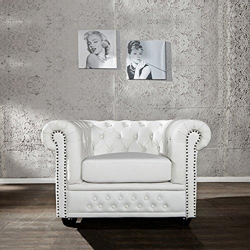 CAGÜ - Edler DESIGNKLASSIKER Sessel [Winchester] Weiss aus Kunstleder im KLASSISCH ENGLISCHEN Chesterfield-Stil, NEU!