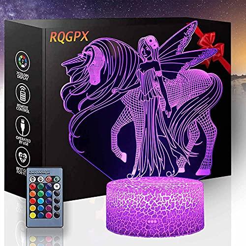 Lámpara de escritorio 3D ilusión unicornio R luz de noche 16 colores cambiantes lámparas de escritorio decoración de habitación de los niños mejores regalos de cumpleaños para niños niños niños