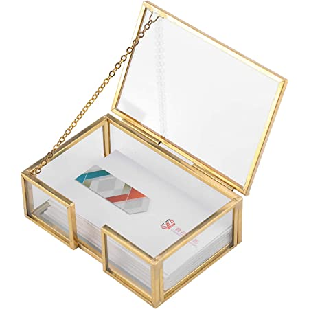 Glass Business Card Holder Stand Vintage Gold Metal Name Display Office