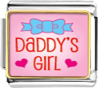 LuckyJewelry Daddy's Girl Etched Italian Charm Sale Cheap fit Nomination Link Bracelet
