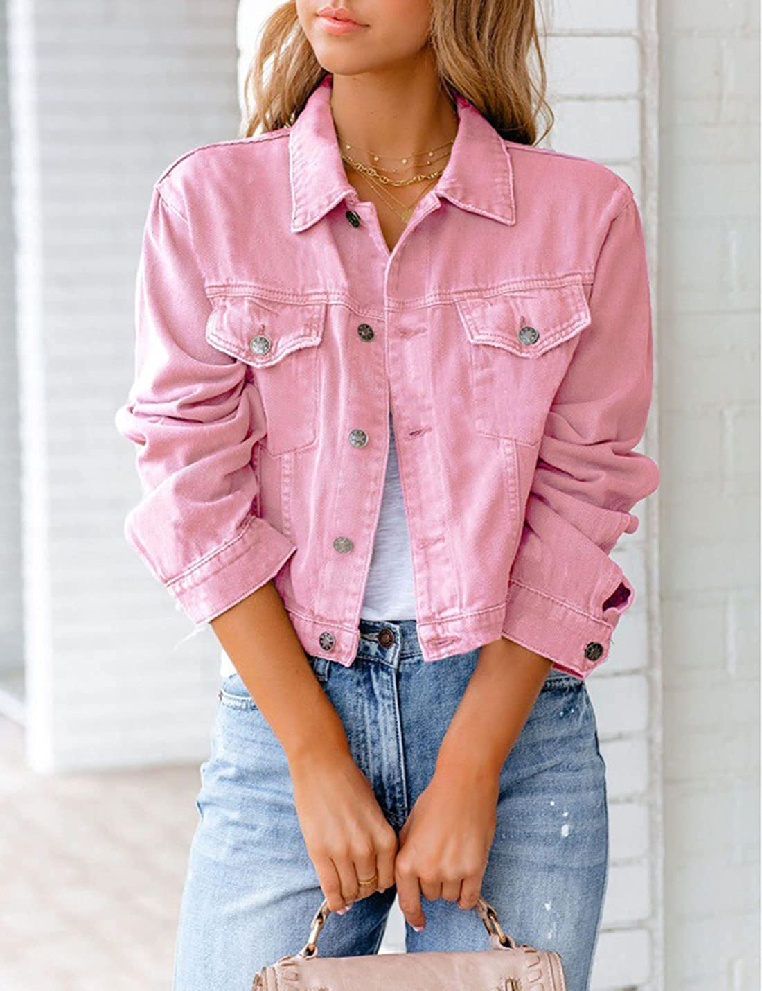 Women's Cropped Denim Shirt Jacket Long Sleeve Casual Shacket Button Down Jean Trucker Jacket for Streetwear