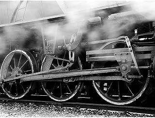 Wee Blue Coo Photo Black White Train Rail Steam Locomotive Running Gear Wheel Unframed Wall Art Print Poster Home Decor Premium