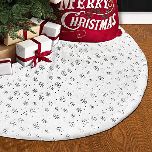 Alishomtll Baumdecke 120cm Weihnachtsbaumdecke Christbaumständer Teppich Christbaumdecke Weihnachtsbaumdecke Rund mit Schneeflocken Weiß Silber Deko für Weihnachten