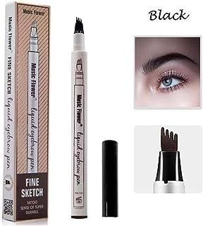 Eyebrow Tattoo Pen-LilyAngel Waterproof Microblading Eyebrow Pencil with a Micro-Fork Tip Applicator Creates Natural Looking Brows Effortlessly(Black,1 pack)