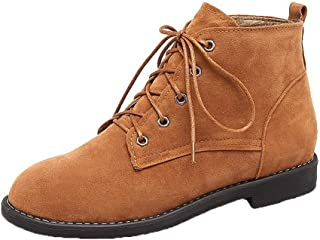 WeiPoot Women's Frosted Low-Top Solid Lace-Up Low-Heels Boots, EGHXH110380