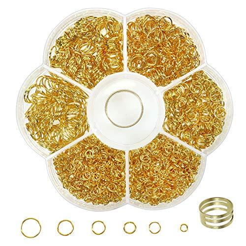Toab 1500 Stück Sprungring, rund, offen, Jump Ring aus Eisen, Schmuck, Kette, 4 mm, 5 mm, 6 mm, 8 mm, 10 mm, vergoldet, mit Box für die Schmuckherstellung