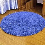 BATHMATSLIN Alfombras de Dormitorio absorbentes de Agua Alta Alfombra de baño Alfombra de baño Suave Alfombras de baño Redondas sólidas 120 cm (47 Pulgadas) Azul (Color: Azul) Improve