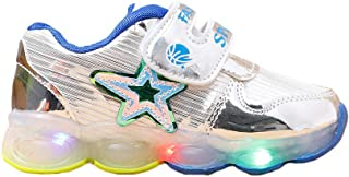 Hopscotch Boys PU Star Applique LED Shoes in Silver Color