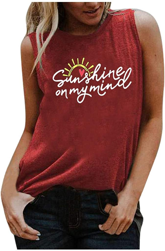 AODONG Tank Tops for Women, Workout Vest for Women Formal Womens Tank Top Summer Sleeveless Crew Neck T-Shirts Tee Moon Phases Printed Casual Loose Fit Blouse Basic Tops Red