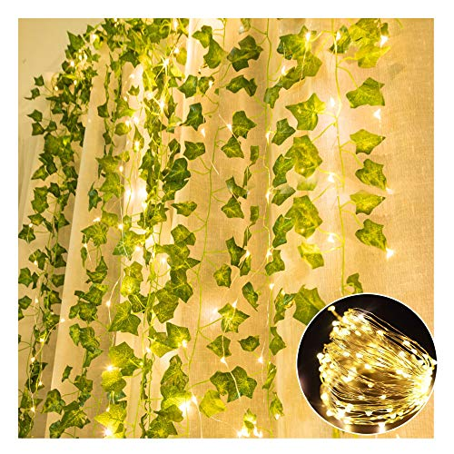 TRvancat Artificial Ivy Garland with lights, 84 Ft 12 Pack Hanging Vines Fake Plants Ivy Leaf Greenery Decor for Wedding Home Office (ivy garland with lights)