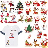 3 Sheets Christmas Iron On Patches Heat Transfers Stickers Winter New Year Appliques Patches Xmas Animals Deer Santa Claus Snowman Decorative Patches for Kids DIY Clothing T-Shirt Jeans Clothes