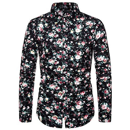 Camisas de Hombre Primavera y otoo Color de Marea Fiesta Fiesta Camisas de Flores Camisas de Manga Larga Moda Casual Personalidad Camisas de Solapa 3XL