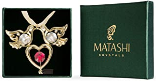 Matashi Red Crystal 24K Goldplated Studded Love Doves Hanging Ornament