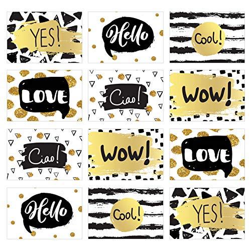 Edition Seidel Set 12 Postkarten mit Sprüchen - Karten mit Spruch, Leben, Motivation, Geburtstagskarten Yes Love Ciao Hello Wow