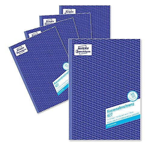AVERY Zweckform 427-5 Kassenabrechnung (A4, mit MwSt.-Spalte, von Rechtsexperten geprüft, für Deutschland und Österreich, zur ordnungsgemäßen Buchführung, 2x50 Blatt) 5er Pack weiß/gelb