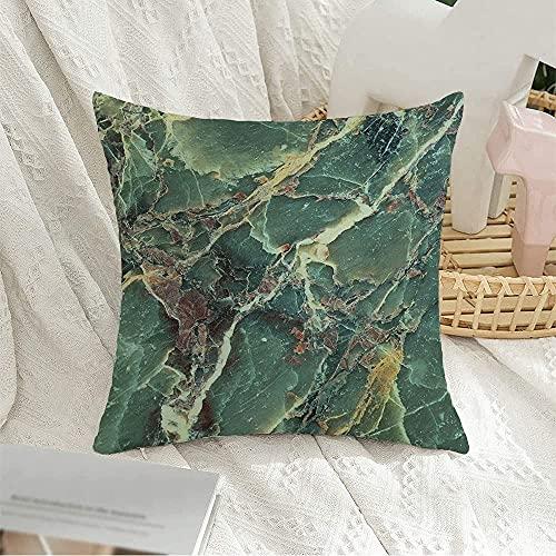 BONRI Funda de almohada cuadrada decorativa de mármol, material mineral aguamarina, colección de patrones opacos, texturas de silicato, funda de almohada para decoración de sofá, 43 x 43 cm