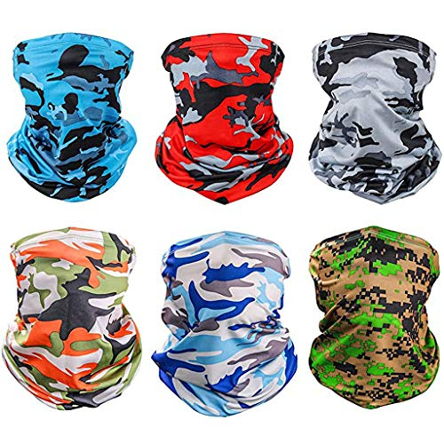 6 Pack Summer Neck Bandana UV Sun Protection, Unisex Elastic Neck Gaiter Face Guard Breathable Cooling Face Scarf Cover for Fishing Hunting (Multicolor)