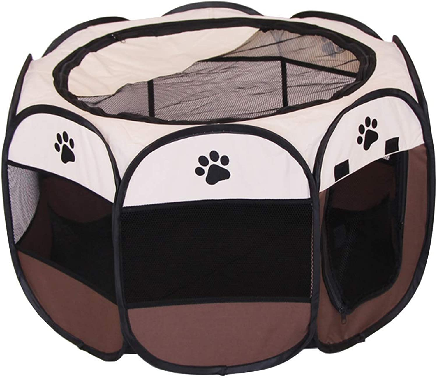 AIYUN Pet Cage for Cats and Dogs Pet Fence Folding Pet Kennel 600D Brown Oxford Cloth (L)