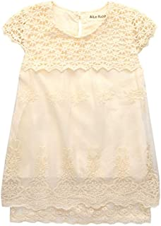 ALLAIBB Kid Girls Short Sleeve Lace Floral Hollowed Cotton Pleated Princess Dress