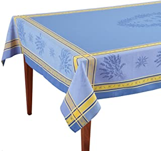 Occitan Imports Senanque Bleu Jacquard French Tablecloth, 63 x 118 (8-10 people)