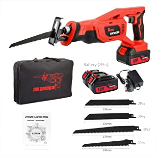 Reciprocating Saw with 2 Batteries, LED Light, 8 PCS Saw Blades, Ideal for Wood and Metal Cutting, Kingshowden 18V 5000mAh...
