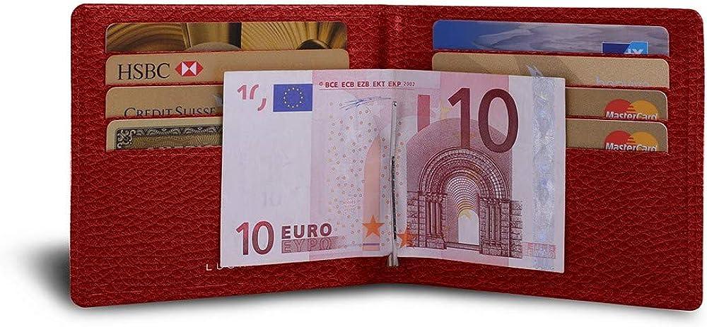 Lucrin - portafoglio con fermasoldi porta carte di credito da uomo in pelle PM2001_VCGR_RGG