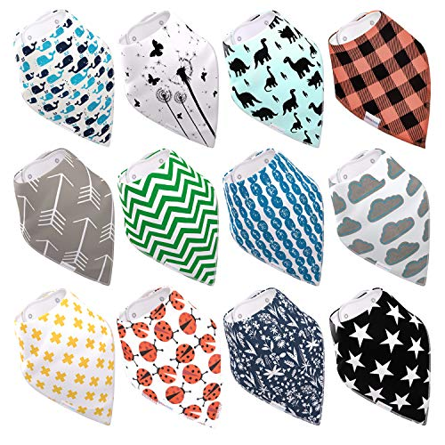 12-Pack Baby Bibs for Boys & Girls, Baby Bandana Drool Bibs for Teething and Drooling, Super Absorbent Organic Cotton, Cute Baby Shower Gift (Nature Set)