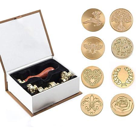 Ensemble de cire Stamp Kit, 8 têtes en laiton de tampon de sceau de cire et 1 poignée en bois, kit de cire à cacheter adhésif Vintage Arts & Crafts pour enveloppe Carte Postale (8 pièces)