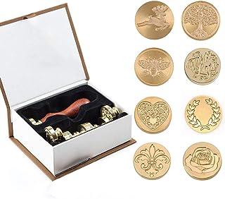 Ensemble de cire Stamp Kit, 8 têtes en laiton de tampon de sceau de cire et 1 poignée en bois, kit de cire à cacheter adhé...
