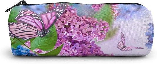 Schmetterling Flieder Blumen Bleistift Fall Zylinderform Stift Briefpapier Beutel Tasche Reißverschlüsse Stift Tasche Büro Briefpapier Tasche Kosmetik Make-up Tasche